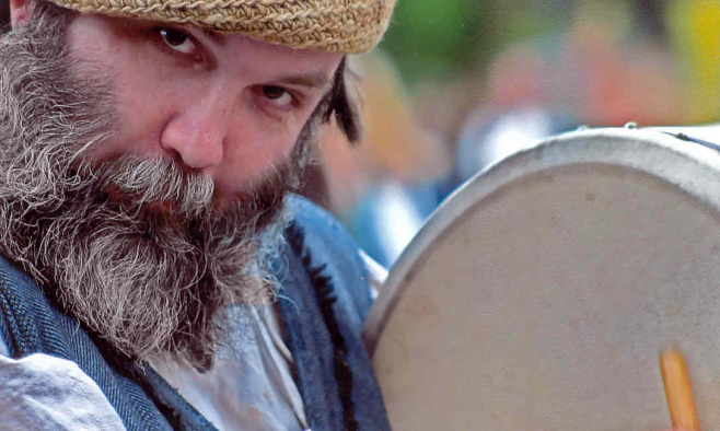 Michael Ballard, with Bodhran at Renaissance Faire